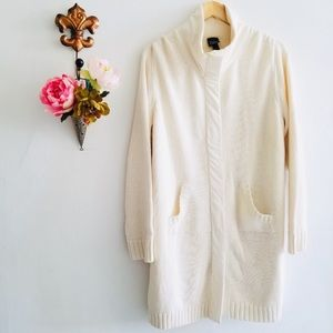 Eileen Fisher Off White Cotton Knit Long Jacket